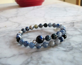 Indigo Blue Natural Healing Stone and Crystal Brow Third Eye Chakra Bracelet