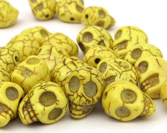 40Pieces Imitate Yellow TurquoiseCarved Skull Head Loose Beads Jewelry Finding 13mm x 12mm x 10mm  ja548