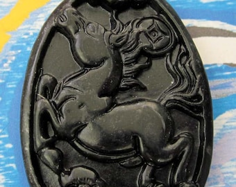 Natural Stone Horse Amulet Pendant 42mm x 31mm  TH055
