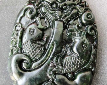 Natural Stone Twin Fishes Dragon Amulet Pendant 46mm x 34mm  TH085