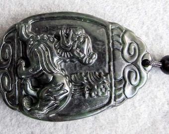 Natural Stone Pi-Xiu Dragon Amulet Pendant 43mm x 31mm  TH100