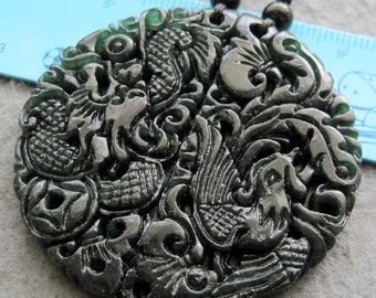 Pair Of Natural Stone Dragon Phoenix Amulet Pendant 49mm x 49mm  TH146