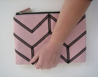 Pink Leather iPad case/clutch