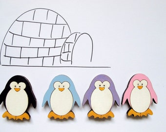 Penguine Magnet- 1 woodenblack and white penguine magnets- funny kids magnets for children/teens/adults/ hostess gift