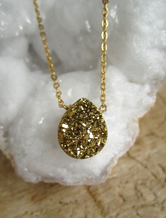 Gold Druzy Quartz Necklace Titanium Drusy Quartz 14K Gold Fill Chain