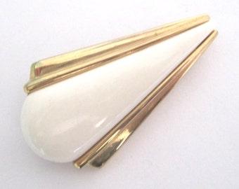 Cream Brooch Art Deco Brooch Vintage Gold Brooch Cream And Gold Pin