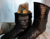 Black 80s vintage slouch // fold-over slipper boots, women's 7.5