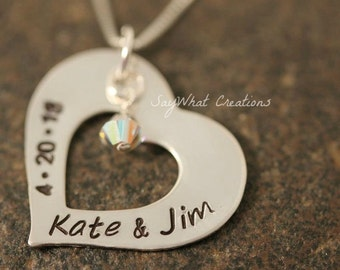 Sterling Silver Custom Hand Stamped Heart Washer Necklace