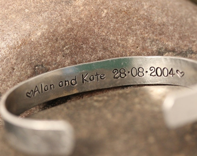 Secret Message Hand Stamped Cuff Bracelet Personalized on the Inside
