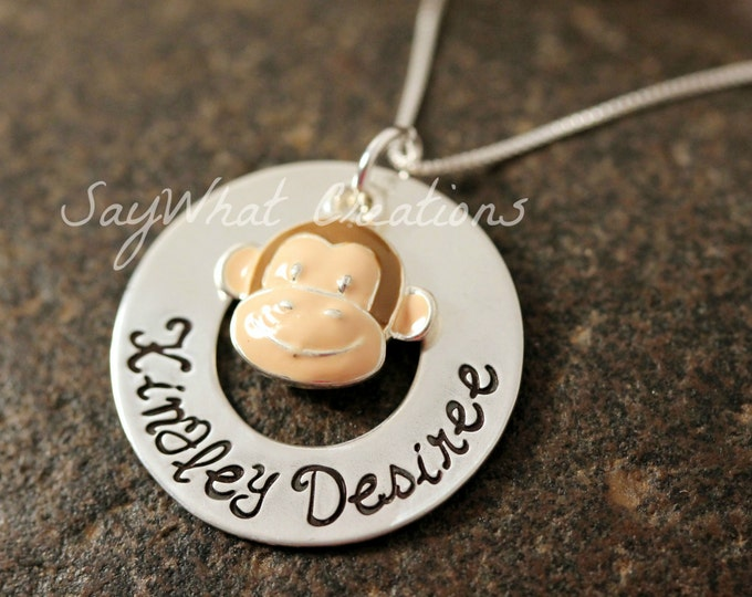 Custom Hand Stamped Sterling Silver Washer Necklace with Monkey Charm perfect for new mothers or remembrance necklace
