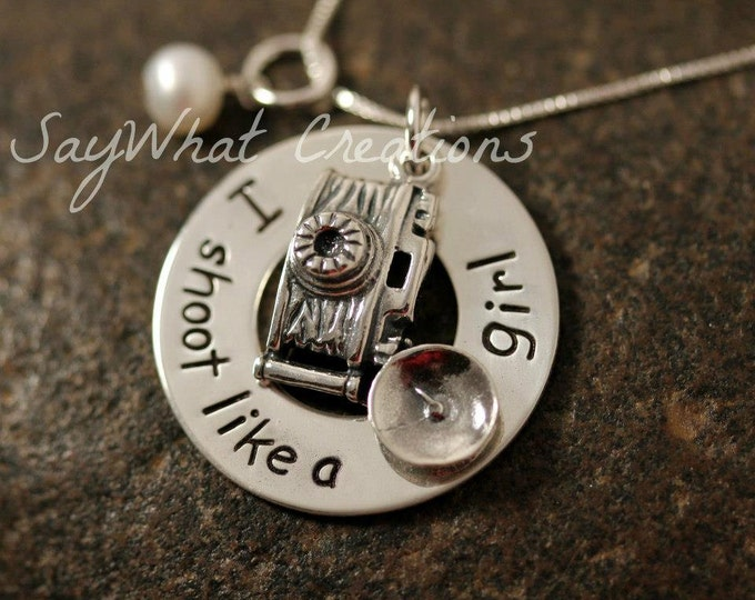 Custom Hand Stamped Sterling Silver Camera Photographers Charm Necklace I Shoot Like a Girl