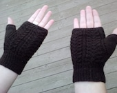Fingerless gloves, baby fern lace pattern, adult size extra small/small, brown wool blend sock yarn