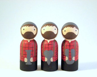 i heart you Lumberjack wood peg people dolls