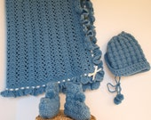 Hand Crocheted Baby Afghan, Hat and Booties
