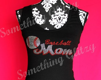 Baseball Mom Rhinestone Tank Top or Tee sizes SM - 3XL All Colors Available