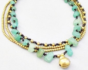Multi Strand Aventurine and Single Brass Bell Anklet