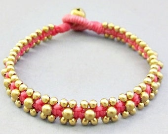 Brass Bead and Pink  Wax Cord Square Knot Bracelet