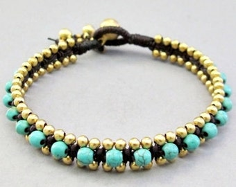 Summer Day Knot Bracelet with Turquoise Bead