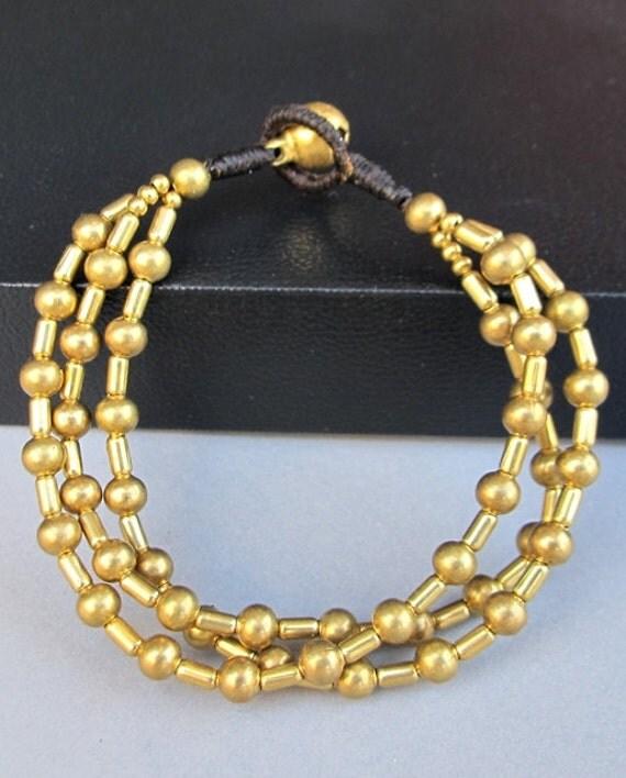 Charm Multi Strand Bracelet with Brass Bead