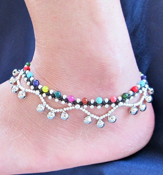 Multi Stone Beaded and Silver Plated Ring Ring Ankle Bracelet