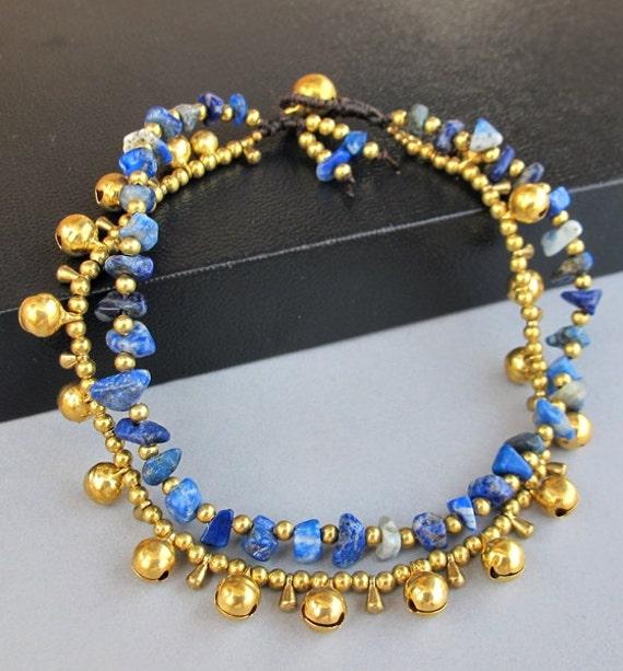 Hippie Summer Ankle Bracelet and Lapis Lazuli Stone A164