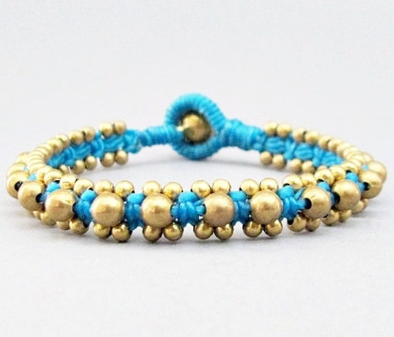 Brass Bead and Blue Wax Cord  Square Knot Bracelet