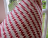 decorator fabric, red and off white woven cotton ticking 1 yard
