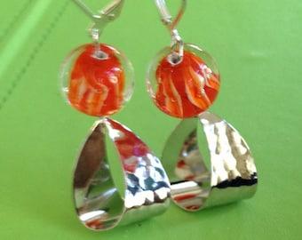 Lampwork Orange and Silver Earrings