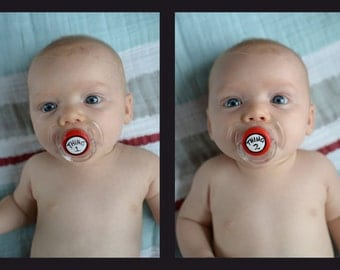 Thing 1 & Thing 2 Custom Hand Painted Pacifier Set by PiquantDesigns