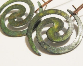 Verdigris Patina Spiral Dangle Earrings