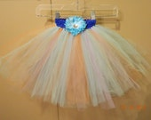 SALE Pastel Colors Tutu Easter Tutu with Removable Flower Hair Clip Embellishment
