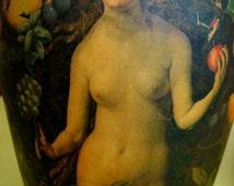 GARDEN of EDEN Decoupage ORIGINAL work on Vase Adam Eve and Diana