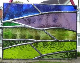 Stained Glass Moorland and Heather Light Catcher Panel MTO