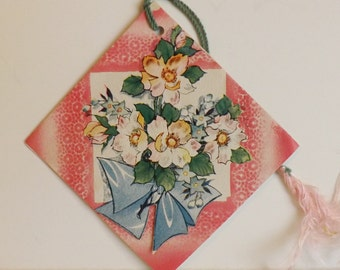 Vintage bridge tally card with bouquet of flowers pink and blue floral booklet style scorecard ephemera