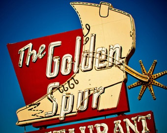 The Golden Spur Restaurant Neon Sign - Route 66 - Western Decor - Retro Kitchen Decor - Typography - Glendora - Fine Art Photography