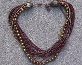 Multi Strand Pearl Necklace / Beaded / Seed Bead / Chain / Copper