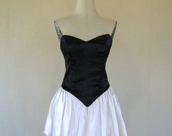 1980s Elegant Satin Peplum Wiggle Prom Dress