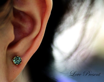 Swarovski Crystal Petite Stud Earrings Post - Minimal Jewelry. Simple Jewelry - Choose your post and Crystal color