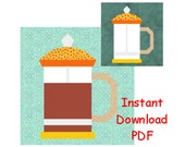 Coffee French press Paper piecing quilt block  INSTANT DOWNLOAD PDF Pattern