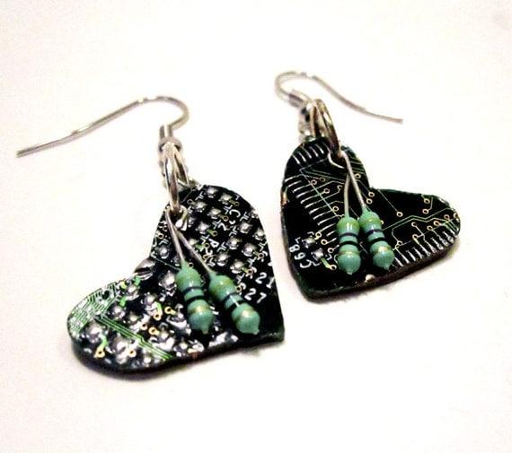 Heart Earrings - Emerald Green Circuit Board Hearts - Geek Love - Valentine's Day