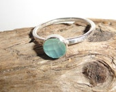 RING HEAPS. Aqua Chalcedony..Stackable Sterling Silver ring....Beatlebaby Metalworks