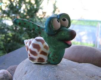 Escargot, Original Polymer Clay Sculpture, by Fig Jam Studio
