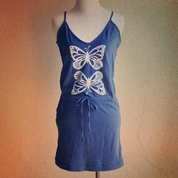 Butterfly screenprinted drawstring dress in blue