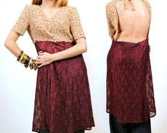 Lace Tunic - Open back top - Boho Tunic Dress - S - M - Small - Medium
