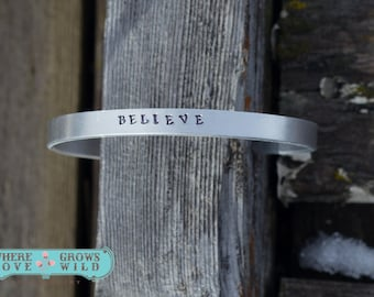 Handstamped Cuff Bracelet - Custom Bracelet - Handmade Cuff - Handstamped Jewelry- Add Optional Inside Message