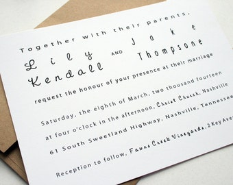 Wedding Invitation -- The Modern Couple  -- Customizable Set
