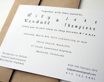 Wedding Invitation -- The Modern Couple II  -- Customizable Set