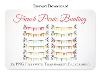 Digital Bunting - Clipart - Digital Banner - French Picnic Collection INSTANT DOWNLOAD