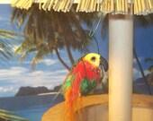 Dollhouse Miniature Bird PARROT with Perch Tiki Bar Tropical Garden One Inch Scale