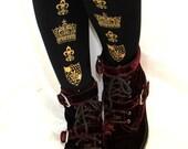 Crown Tights Large Gold on Black Royal Printed Medieval Gothic Lolita Hime Gyaru Dolly Kei